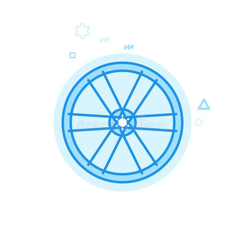 Ícone liso do vetor da roda da bicicleta ou de bicicleta, símbolo, pictograma, sinal Projeto monocromático azul Curso editável ilustração royalty free
