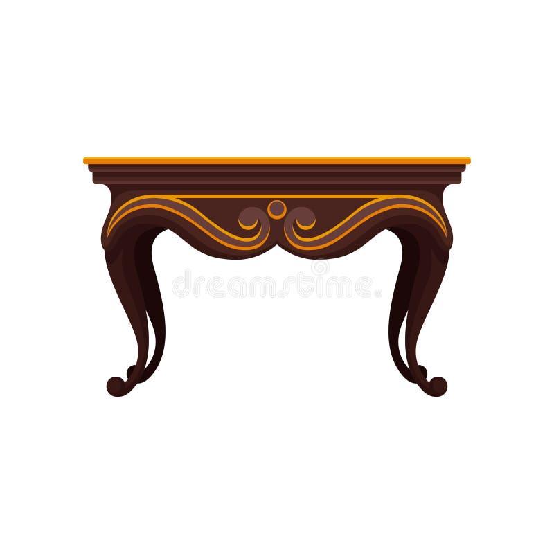Ícone liso do vetor da tabela de madeira antiga para a sala de jantar Artigo decorativo luxuoso para o interior Mobília home do v ilustração stock