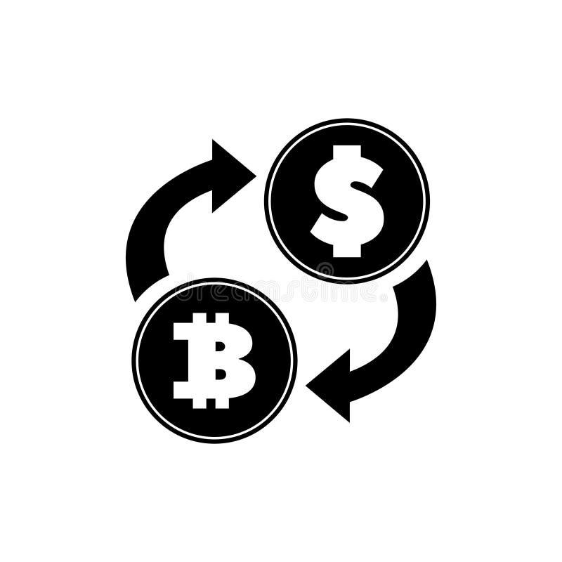 Ícone liso do vetor de Bitcoin da troca de moeda do dólar ilustração stock