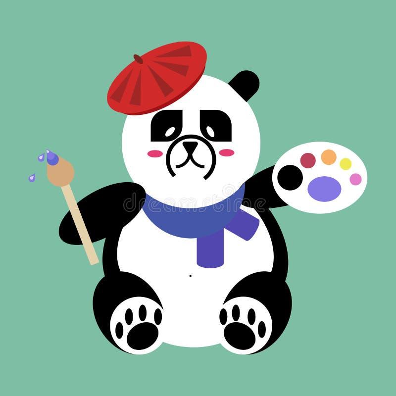 Ícone liso do vetor do artista de Panda Bear ilustração stock