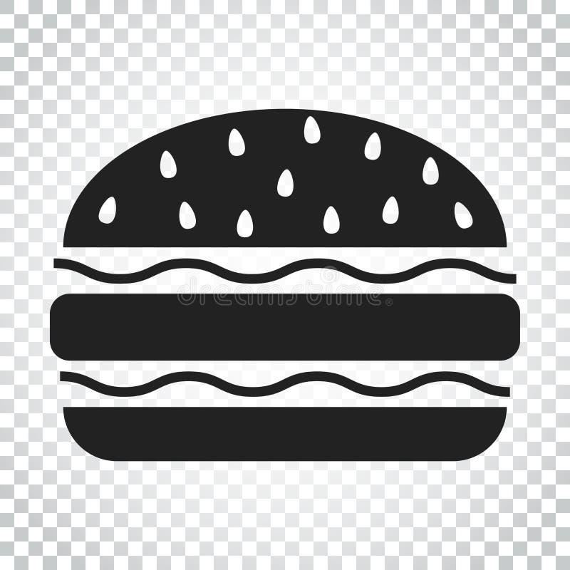 Ícone liso do vetor do fast food do hamburguer Illustr do logotipo do símbolo do Hamburger ilustração stock