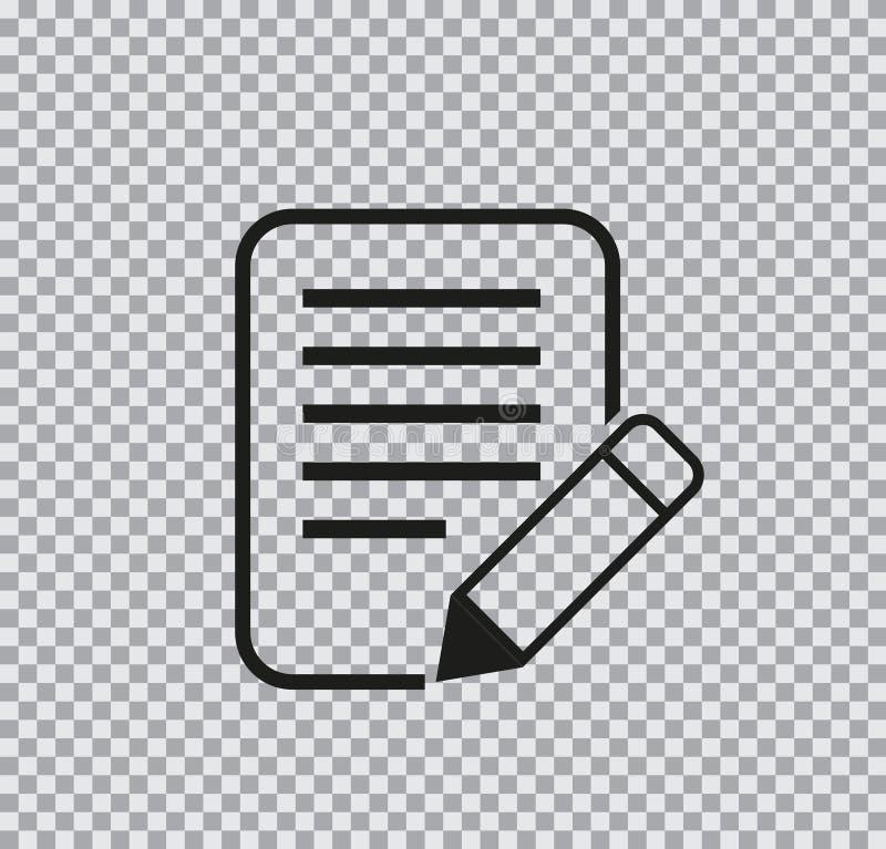 Ícone liso do vetor do documento no fundo transparente ilustração do vetor