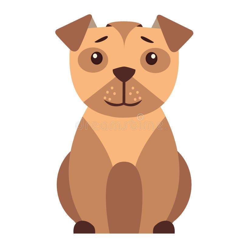 Ícone liso do vetor dos desenhos animados pequenos bonitos do cão ilustração stock