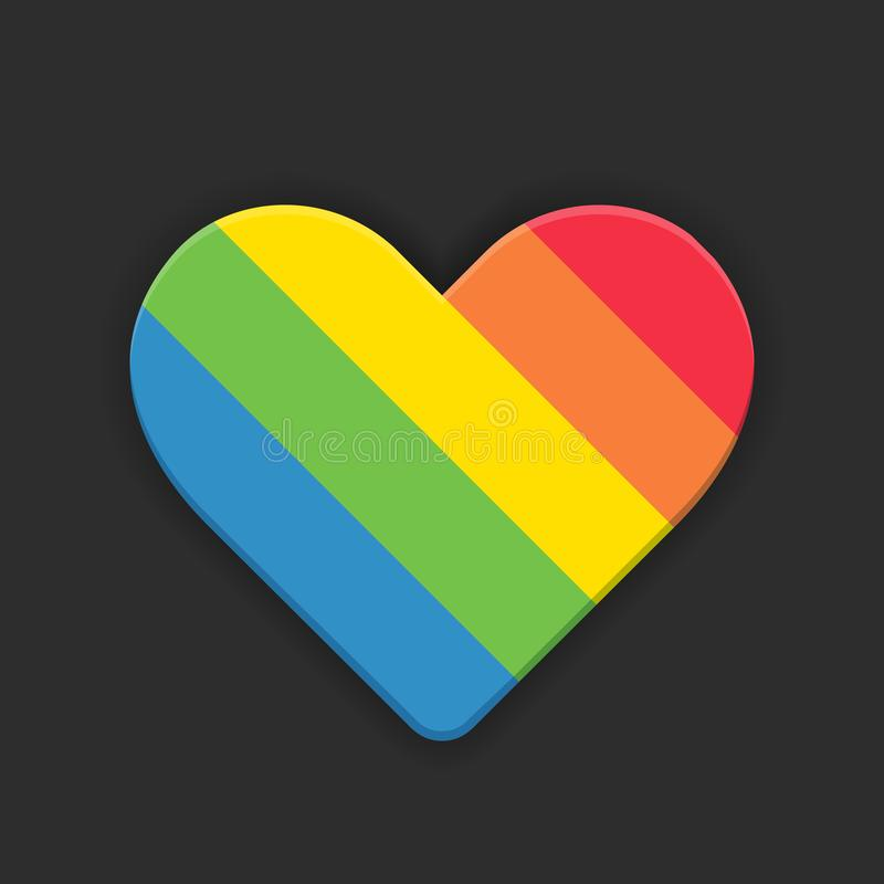 Ícone liso do vetor do estilo do coração do arco-íris no fundo preto ilustração do vetor