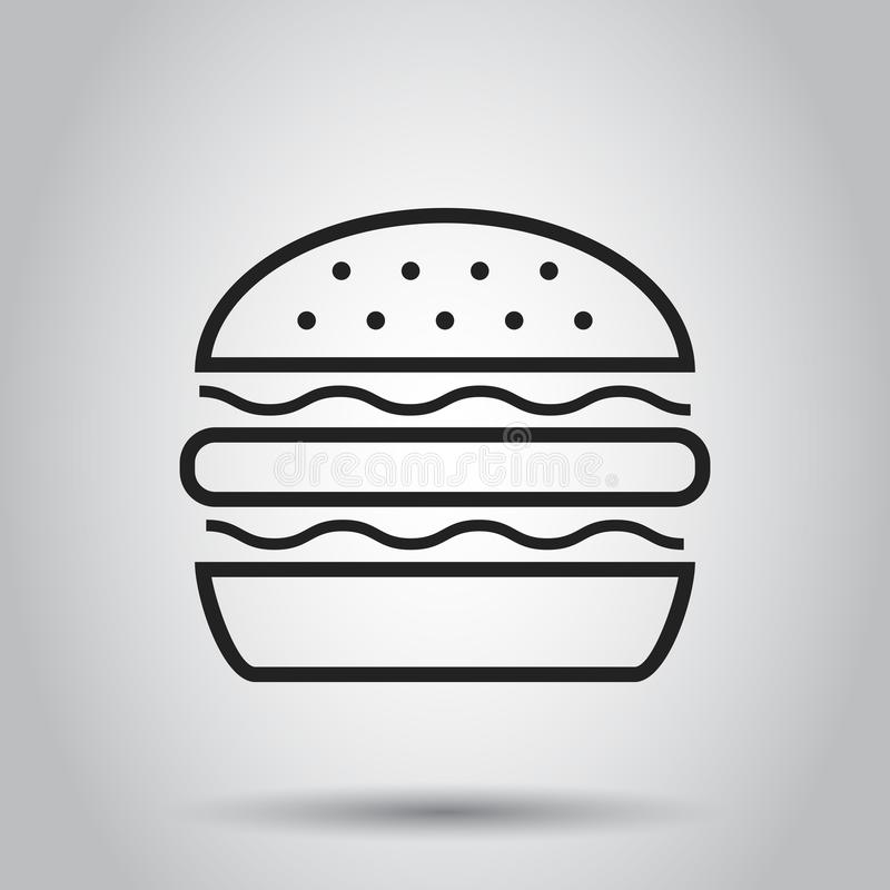 Ícone liso do vetor do fast food do hamburguer Illustr do logotipo do símbolo do Hamburger ilustração royalty free