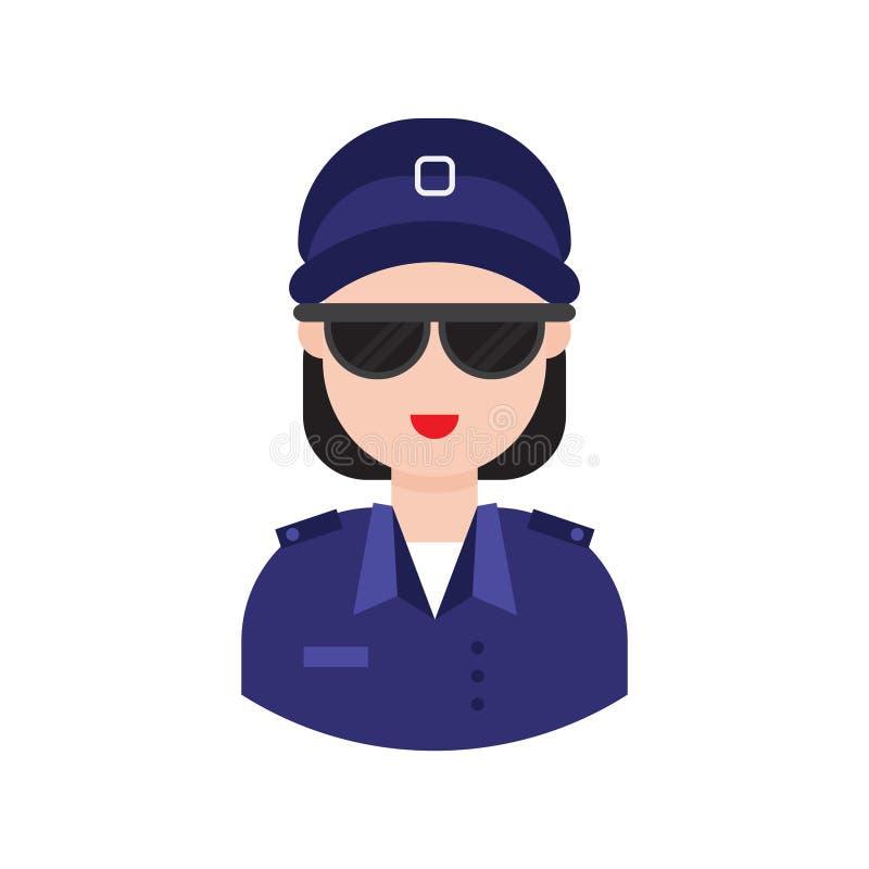 Ícone liso do vetor do glyph da polícia da senhora ilustração do vetor
