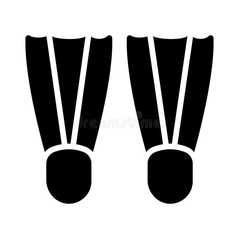 Ícone liso do vetor do glyph das aletas ilustração do vetor