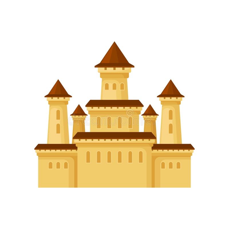 Ícone liso do vetor do palácio medieval Castelo amarelo com telhados cônicos Elemento para o cartaz do entretenimento das criança ilustração stock