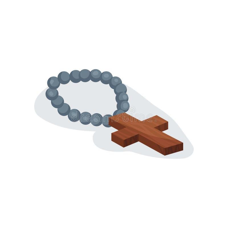 Ícone liso do vetor do rosário cristão santamente Chaplet com cruz de madeira marrom Atributo religioso da igreja Católica ilustração stock