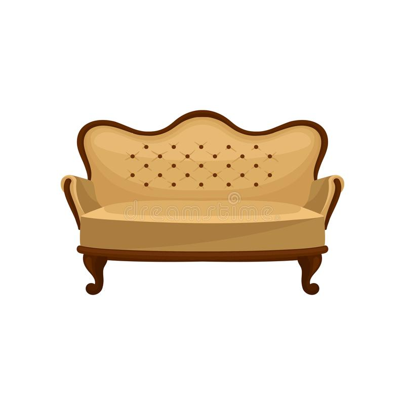 Ícone liso do vetor do sofá clássico do vintage Sofá de madeira com guarnição bege Objeto interior Mobília antiga luxuosa para ilustração royalty free
