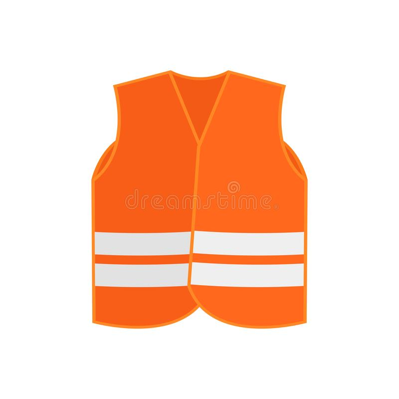 Ícone liso do vetor do waistcoat alaranjado da veste da segurança com as duas listras reflexivas roupa da Alto-visibilidade Desga ilustração do vetor