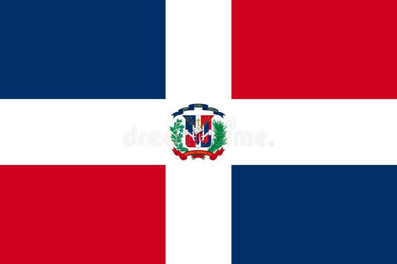 Ícone liso dominiquense da bandeira ilustração do vetor