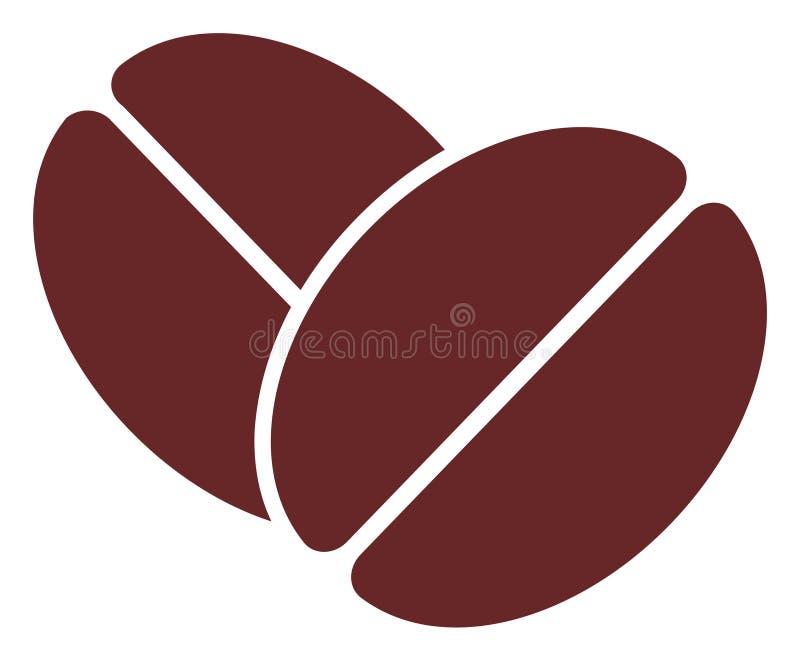 Ícone liso dos feijões do cacau do vetor ilustração stock