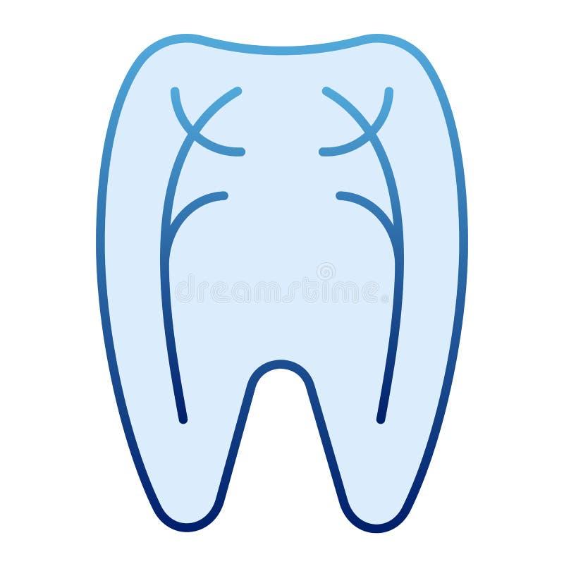 Ícone liso dos nervos do dente Ícones azuis do dentista no estilo liso na moda Projeto peridental do estilo do inclinação, projet ilustração royalty free