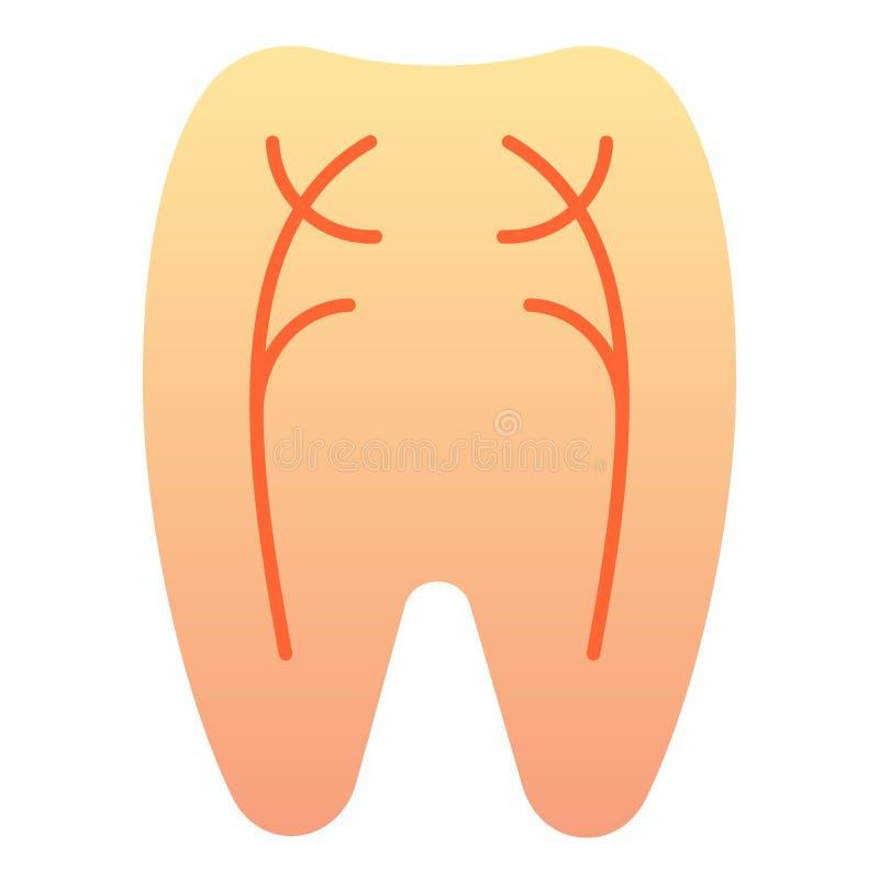 Ícone liso dos nervos do dente Ícones da cor do dentista no estilo liso na moda Projeto peridental do estilo do inclinação, proje ilustração stock