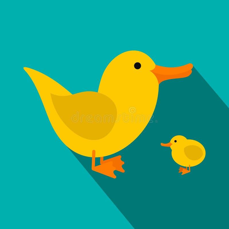 Ícone liso dos patinhos amarelos ilustração do vetor
