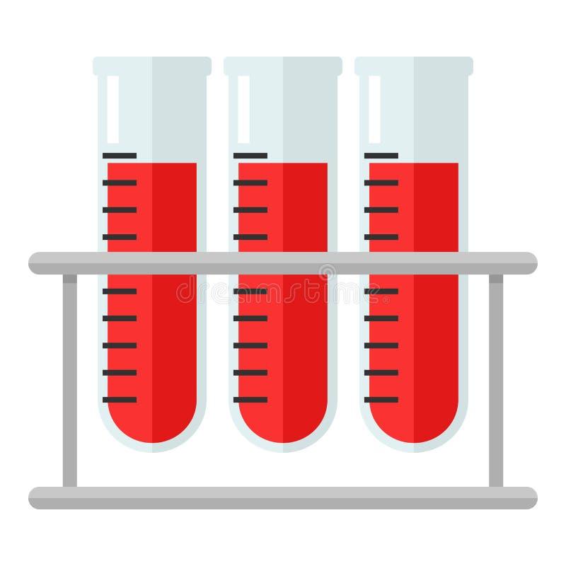 Ícone liso dos tubos de ensaio da análise de sangue isolado no branco ilustração royalty free