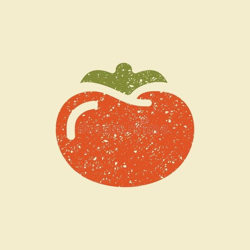 Ícone liso estilizado de um tomate ilustração stock