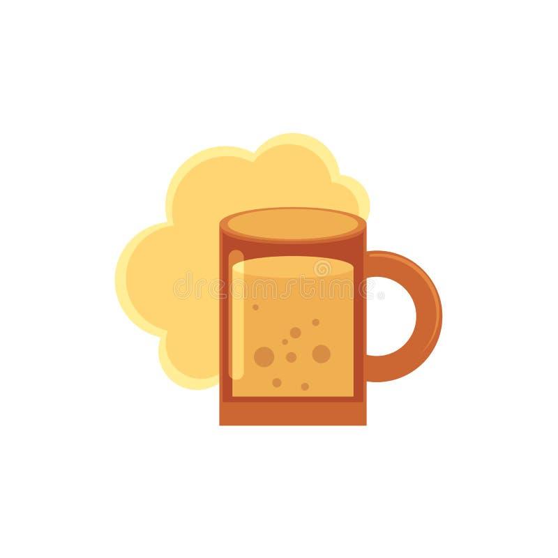 Ícone liso estilizado do estilo da cerveja, cerveja inglesa, caneca da cidra ilustração stock
