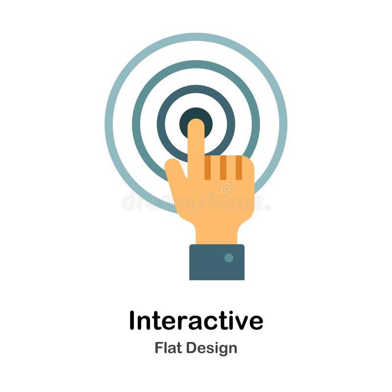 Ícone liso interativo ilustração stock