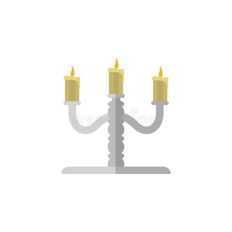 Ícone liso isolado do candelabro O elemento do vetor do castiçal pode ser usado para o candelabro, castiçal, projeto da vela ilustração royalty free