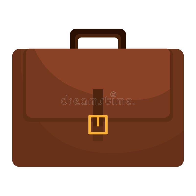 Ícone liso isolado pasta do couro de Brown ilustração stock