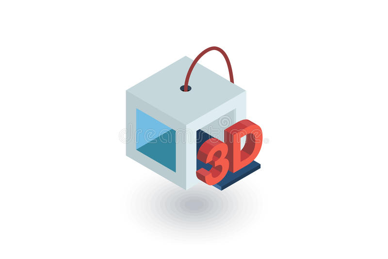 ícone liso isométrico da impressora 3D vetor 3d ilustração stock