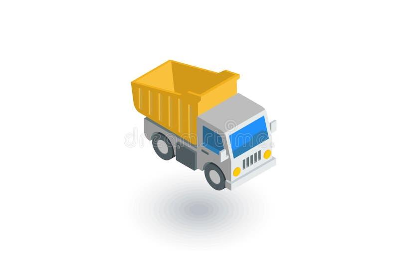 Ícone liso isométrico do caminhão basculante vetor 3d ilustração royalty free