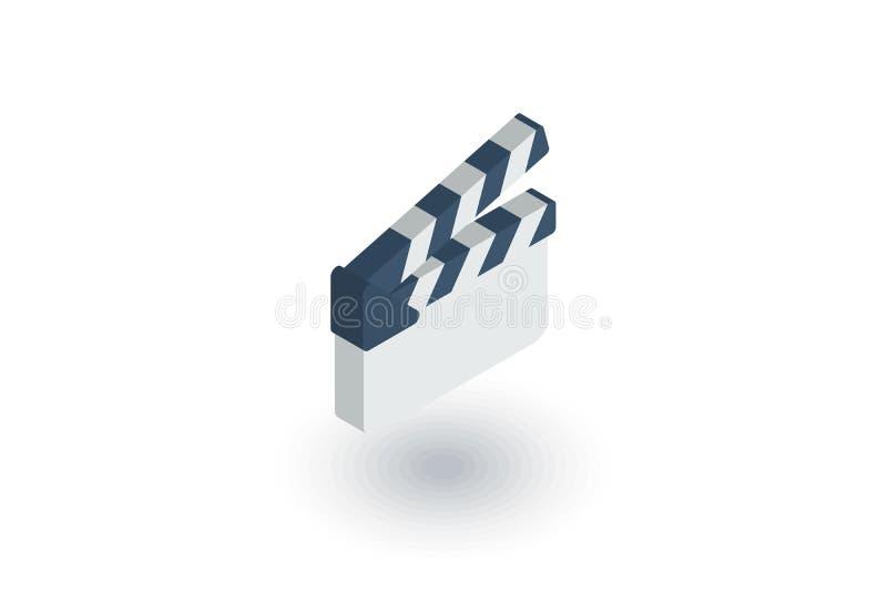 Ícone liso isométrico do clapperboard do filme vetor 3d ilustração stock