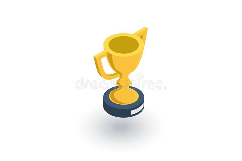 Ícone liso isométrico do copo dourado do troféu vetor 3d ilustração stock