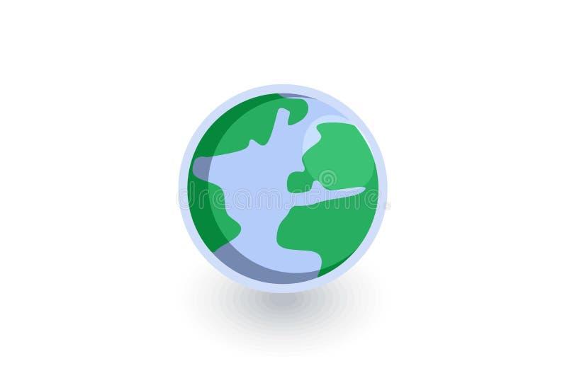 Ícone liso isométrico do planeta da terra vetor 3d ilustração royalty free