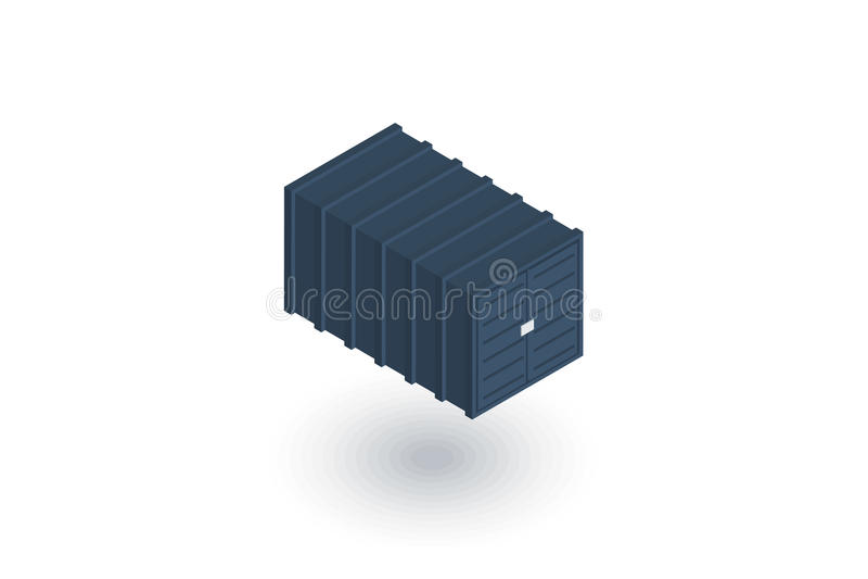 Ícone liso isométrico do recipiente de carga vetor 3d ilustração stock