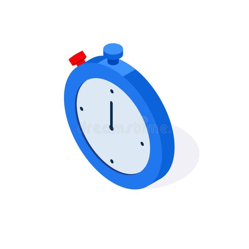 Ícone liso isométrico do relógio temporizador do cronômetro 3d isolado no fundo branco Vetor ilustração stock