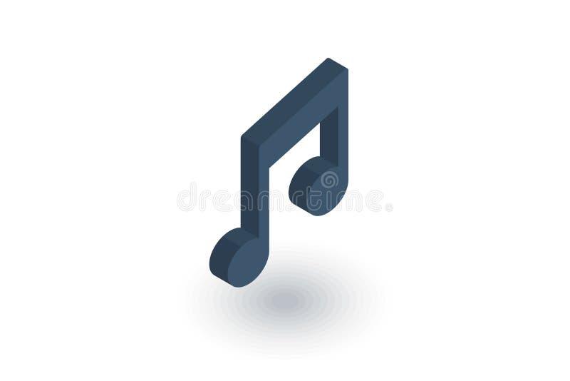 Ícone liso isométrico do símbolo da nota da música vetor 3d ilustração royalty free
