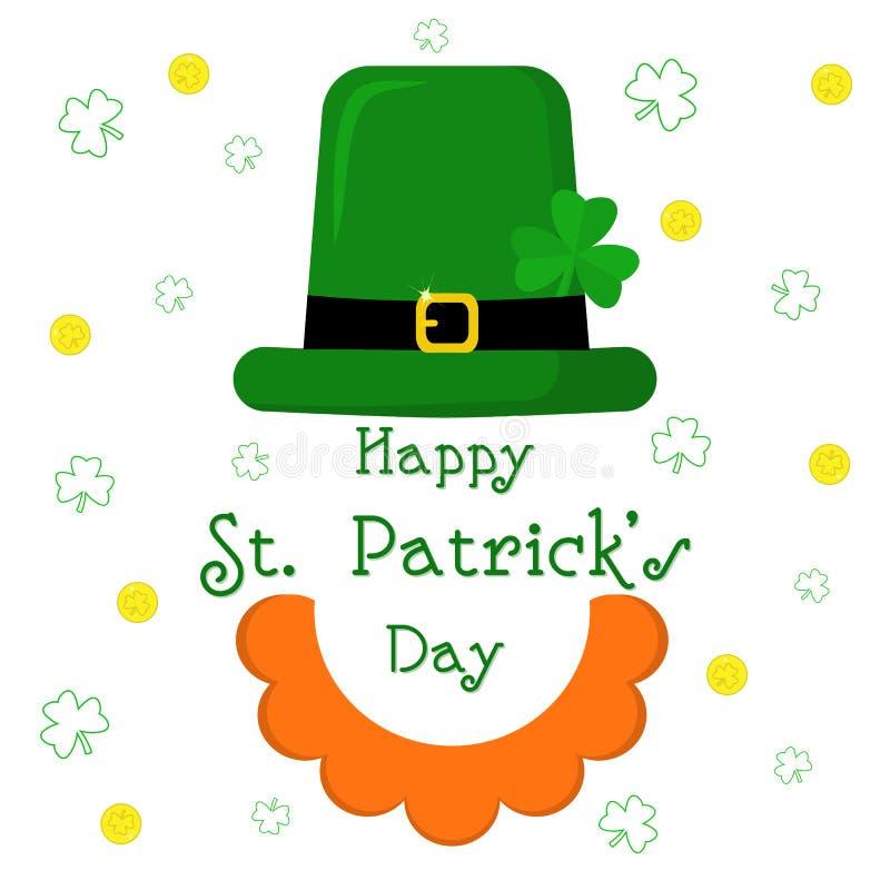 Ícone liso moderno do projeto do vetor para o dia do St Patricks Caráter do duende com o chapéu verde com trevo, barba vermelha,  ilustração stock