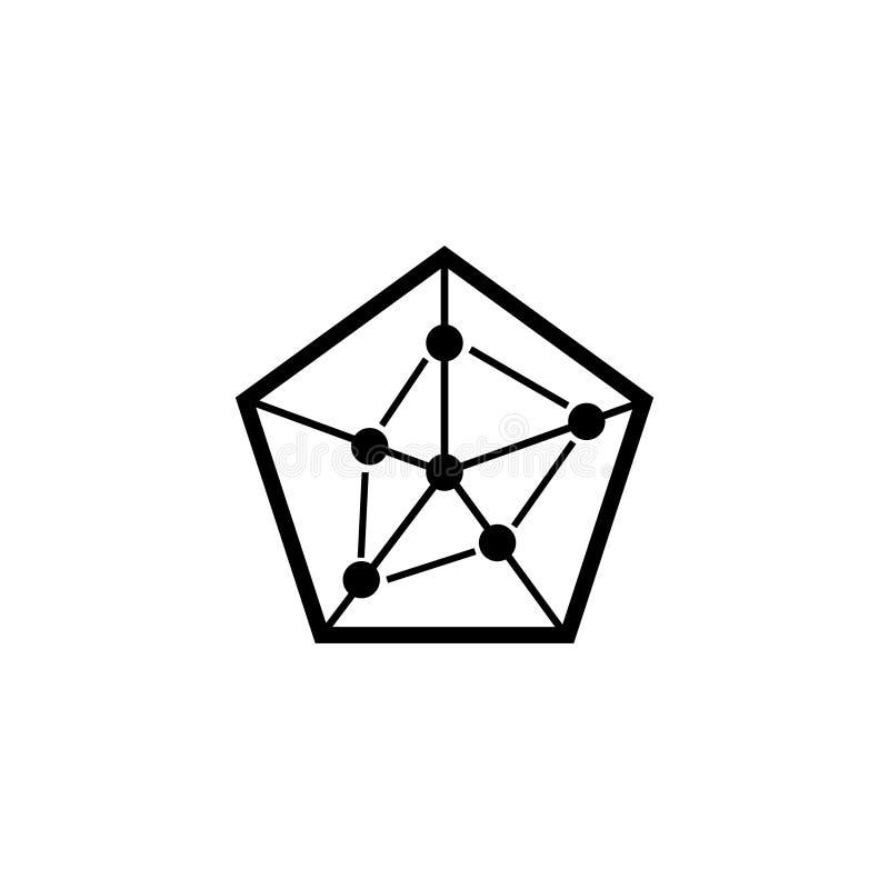 Ícone liso pentagonal do vetor da carta de negócio ilustração do vetor