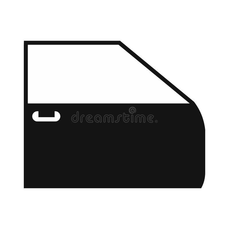Ícone liso preto da porta de carro ilustração stock