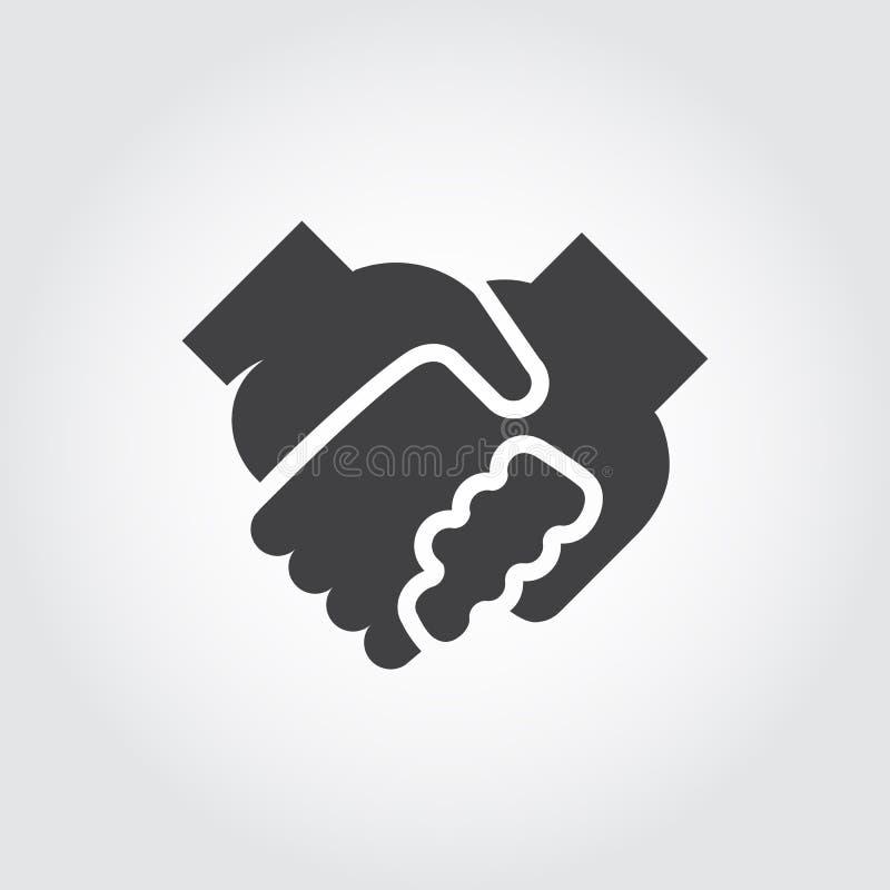 Ícone liso preto do aperto de mão Símbolo do relacionamento, amizade, parceria, apoio Logotipo gráfico ilustração do vetor