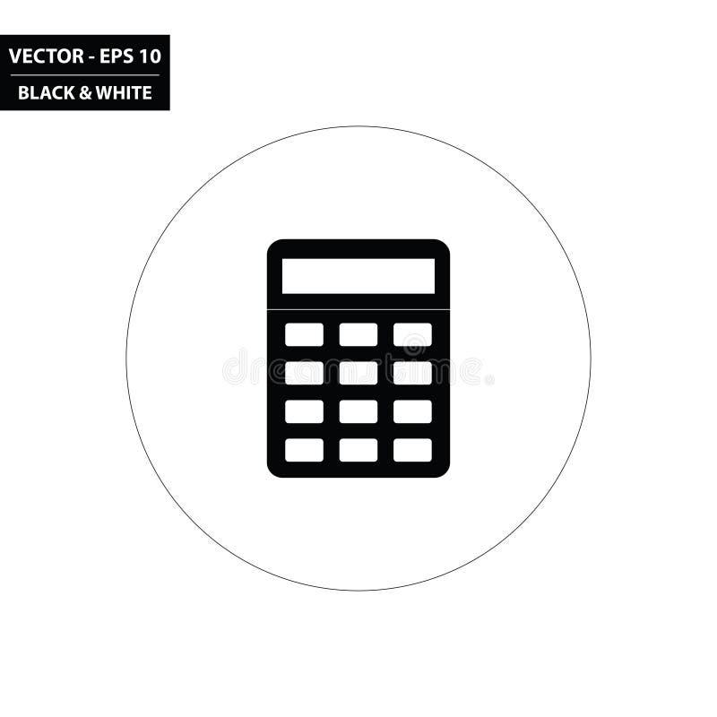 Ícone liso preto e branco da calculadora simples ilustração royalty free