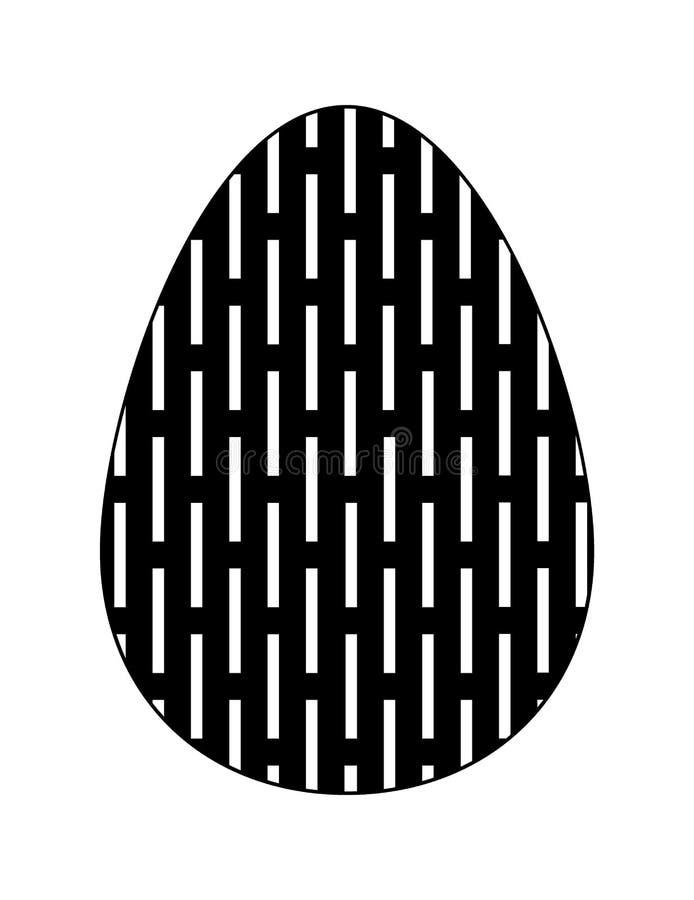 Ícone liso preto e branco do ovo da páscoa com teste padrão geométrico ilustração royalty free