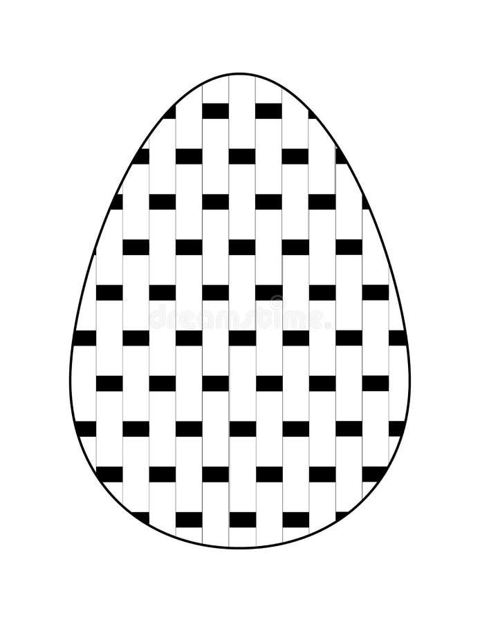 Ícone liso preto e branco do ovo da páscoa com teste padrão geométrico Vetor ilustração stock