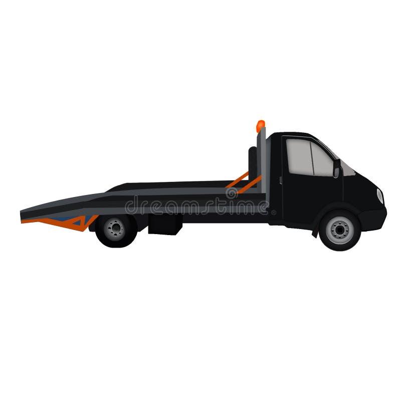 Ícone liso preto isolado do caminhão de reboque, fundo branco ilustração do vetor
