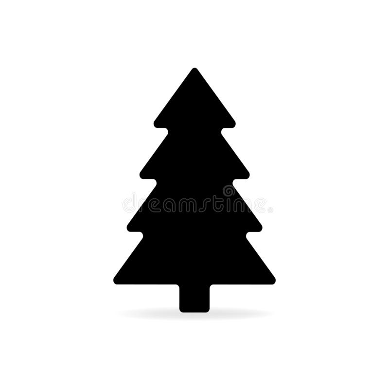 Ícone liso preto simples do vetor da árvore de Natal isolado com shado ilustração do vetor