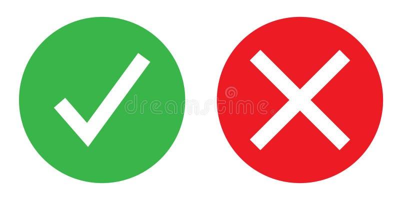 Ícone liso que mostram sim ou nenhuma cor ilustração do vetor