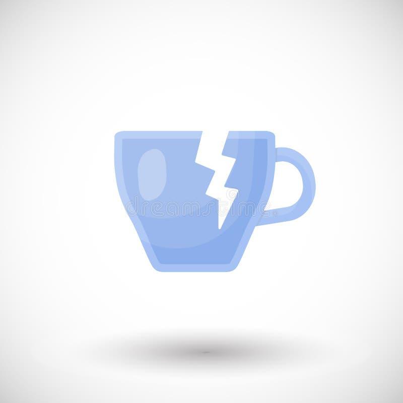 Ícone liso quebrado do copo de chá ilustração royalty free