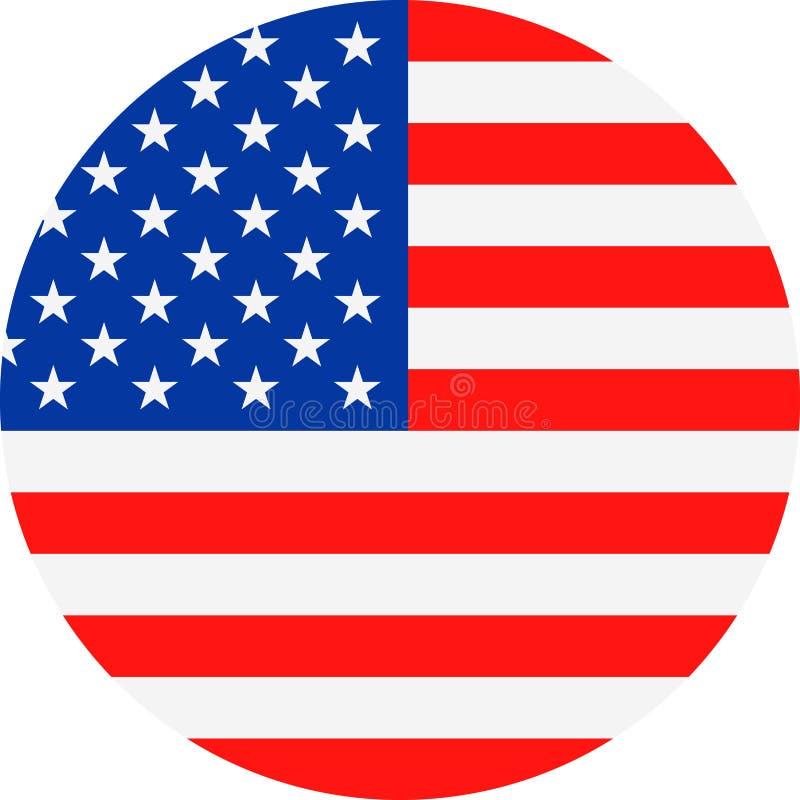 Ícone liso redondo do vetor da bandeira do Estados Unidos ilustração do vetor