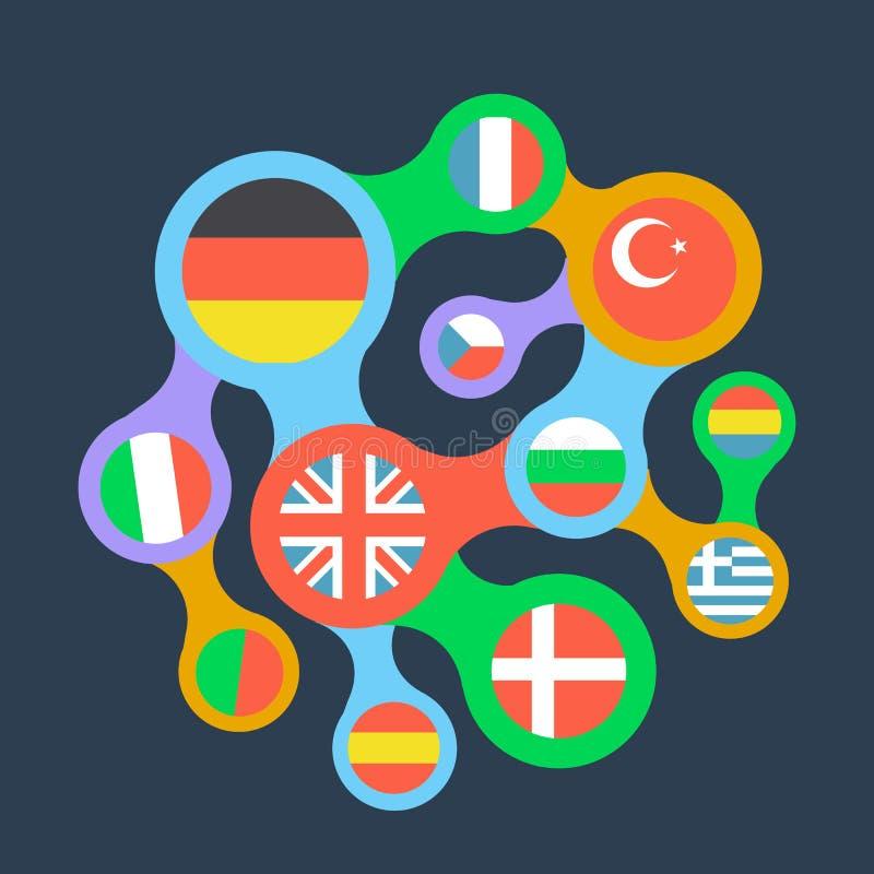 Ícone liso relacionado dos países das bandeiras ilustração royalty free