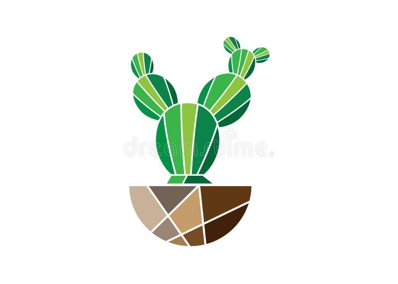 Ícone liso simples do vetor do cacto Pictograma verde do cacto isolado no fundo branco ilustração stock