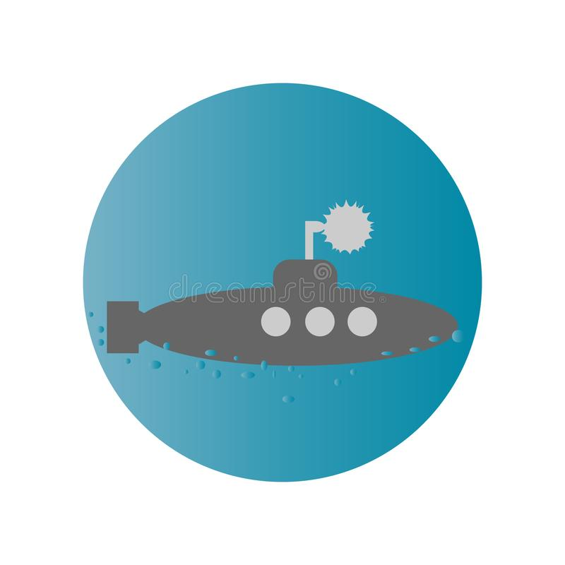 Ícone liso submarino imagem de stock royalty free