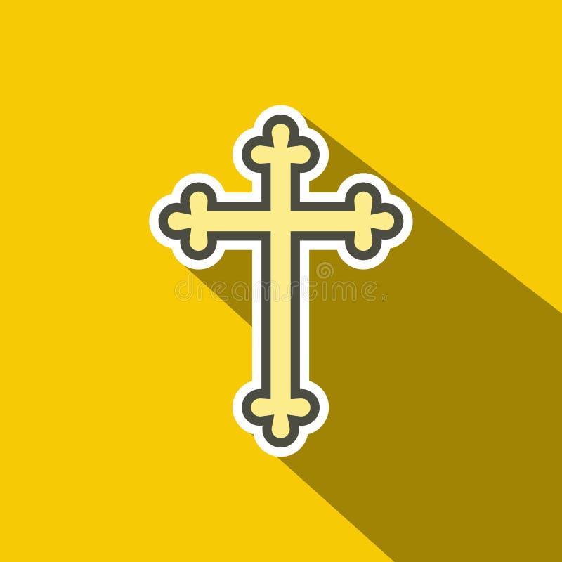 Ícone liso transversal cristão ilustração stock